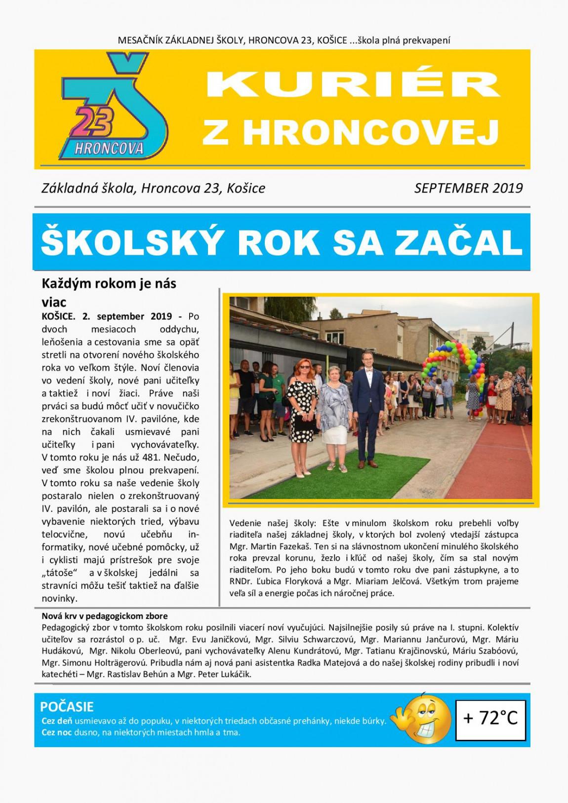 Kuriér z Hroncovej – SEPTEMBER 2019
