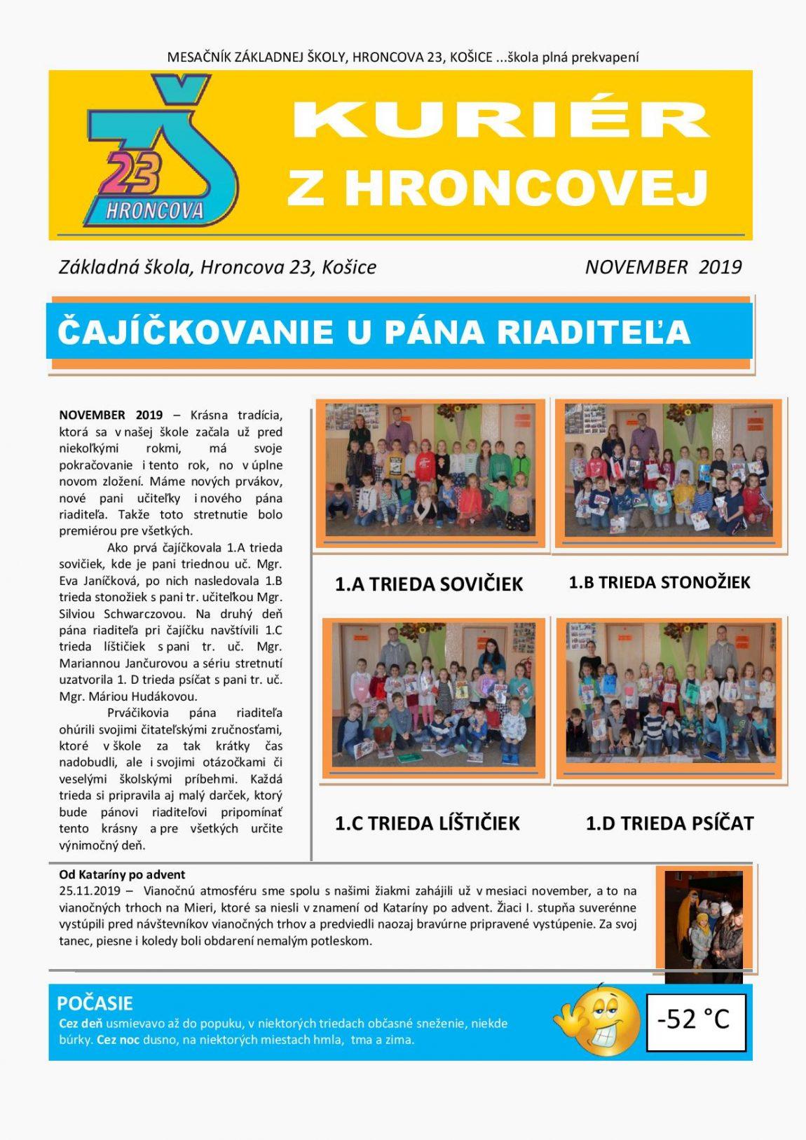Kuriér z Hroncovej – NOVEMBER 2019